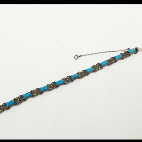 Vintage sterling silver bracelet blue gems